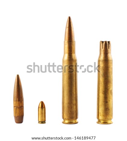 Metal bullet isolated over white background, set of four - stock photo