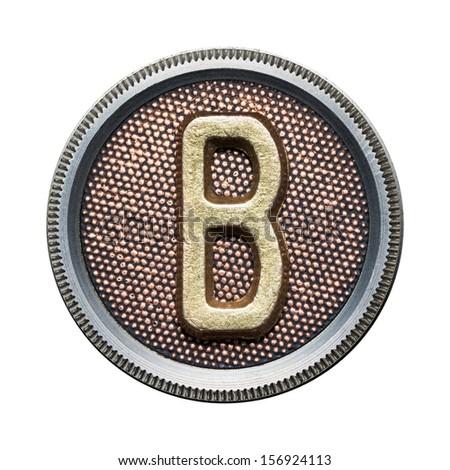 Metal button alphabet letter - stock photo