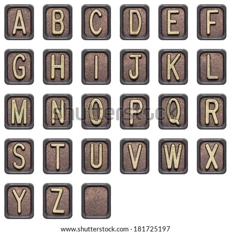 Metal button alphabet letters isolated on white - stock photo