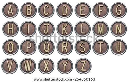 Metal button alphabet letters on white - stock photo