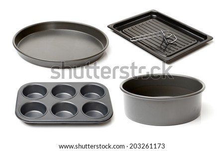 Metal cake mold over on white background  - stock photo