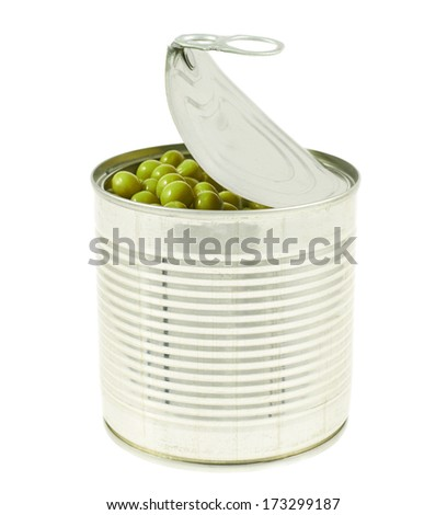 Metal can full of green peas isolated over white background - stock photo