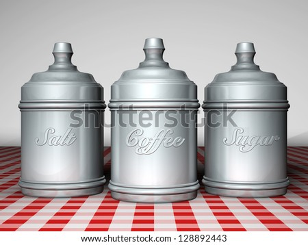 METAL CANS CONTAINING: SALT, COFFEE AND SUGAR ON CHECKERED TABLECLOTH - stock photo