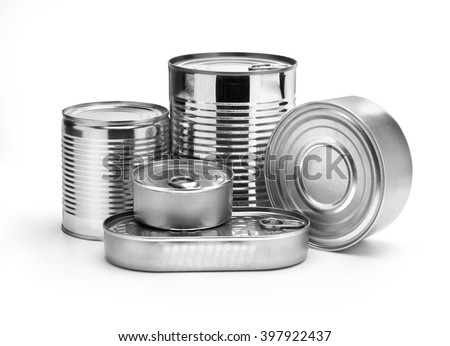 metal cans on a white background. - stock photo