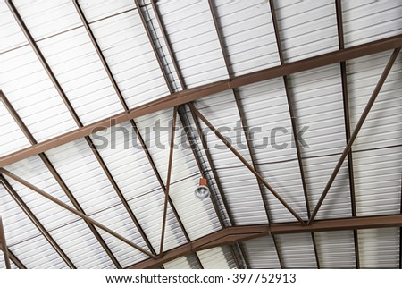 Metal ceiling lamp, construction and architecture - stock photo