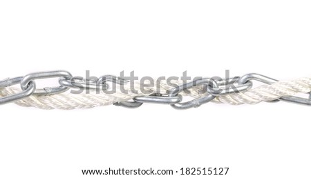 Metal chain and rope. Isolated on a white background. - stock photo