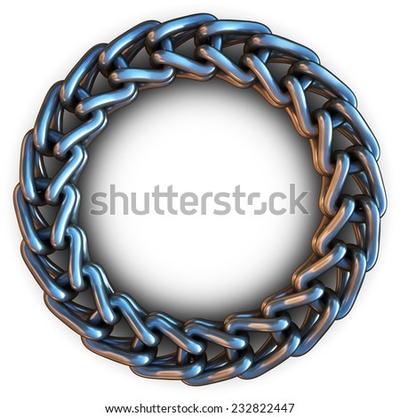 Metal chain in a ring on a white background. 3d render - stock photo