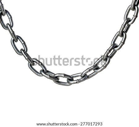Metal chain isolated on white - stock photo