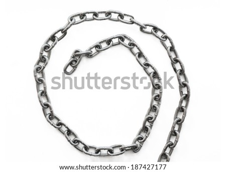 Metal chain on a white background - stock photo
