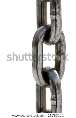Metal chain on the white background - stock photo
