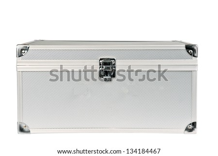 Metal chest. Isolated on white - stock photo