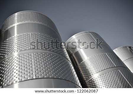Metal chrome cask for wine - black and white - stock photo