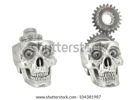 Metal chrome skull gear - stock photo