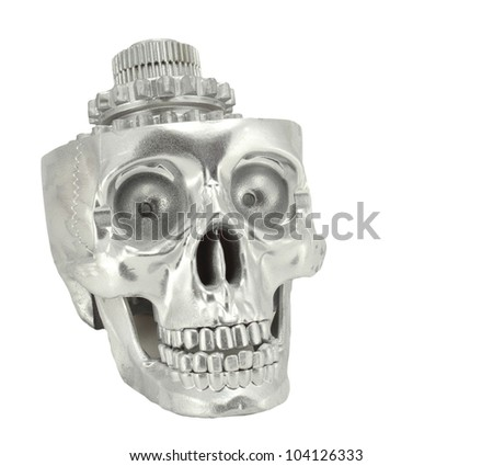 Metal chrome skull gear,cyborg future - stock photo