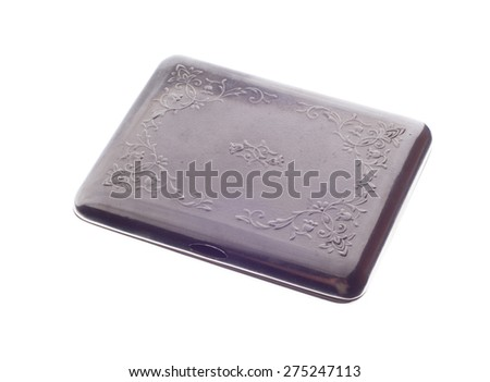 metal cigarette case isolated on a white background - stock photo