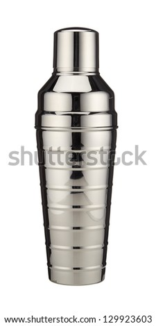 Metal cocktail shaker on white background - stock photo