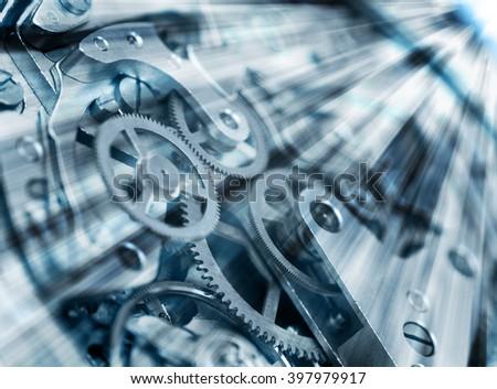 Metal Cogwheels in clock mechanism , abstract sun beams,  Concept  Movement is life, Teamwork , Idea Technology. Macro - stock photo