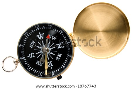 Metal compass isolated on white - stock photo