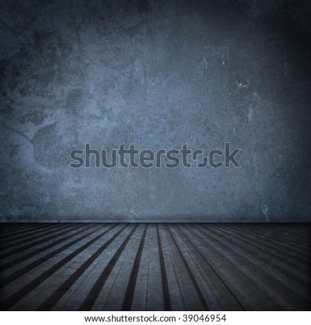 Metal container interior in blue tone - stock photo