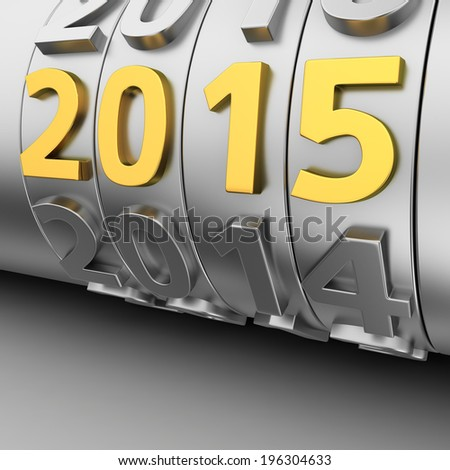 Metal counter roll of years and golden 2015 number - stock photo