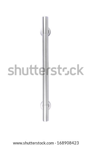 Metal door handle isolated on white background - stock photo