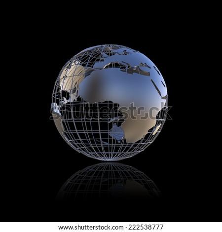 Metal earth globe - stock photo