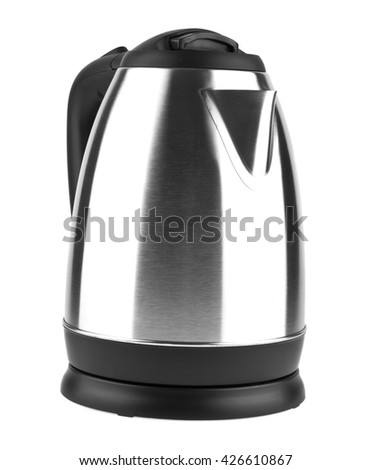 metal electric kettle isolated on white background closeup - stock photo