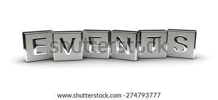Metal Events Text (isolated on white background) - stock photo