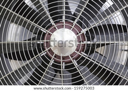 Metal fan, detail of some blades of a fan to provide air refrijeration - stock photo