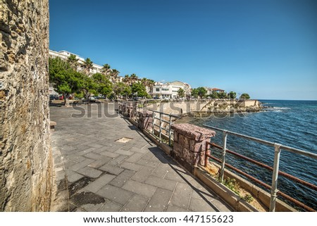 metal fence in Alghero seafront, Italy - stock photo