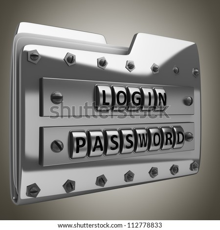 metal folder icon with security password High resolution 3d render - stock photo