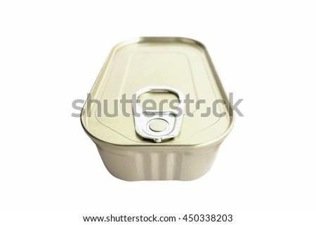Metal food tin isolated on white background. - stock photo
