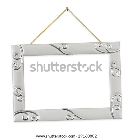 Metal frame with string isolated on white background - stock photo