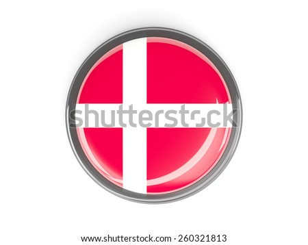 Metal framed round button with flag of denmark - stock photo