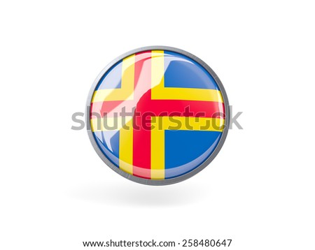 Metal framed round icon with flag of aland islands - stock photo