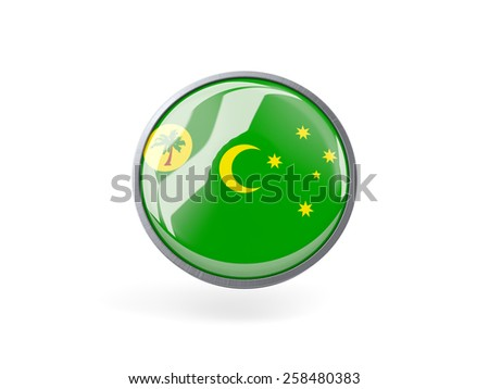 Metal framed round icon with flag of cocos islands - stock photo