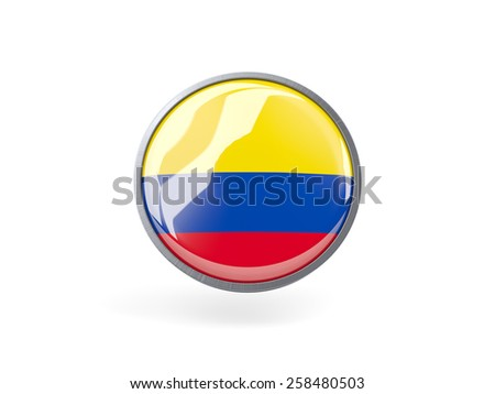 Metal framed round icon with flag of colombia - stock photo