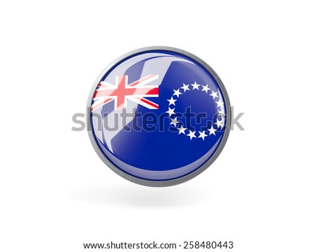 Metal framed round icon with flag of cook islands - stock photo