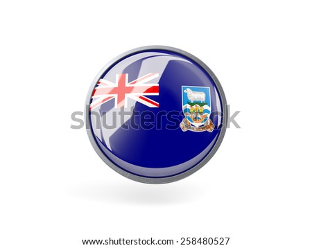 Metal framed round icon with flag of falkland islands - stock photo