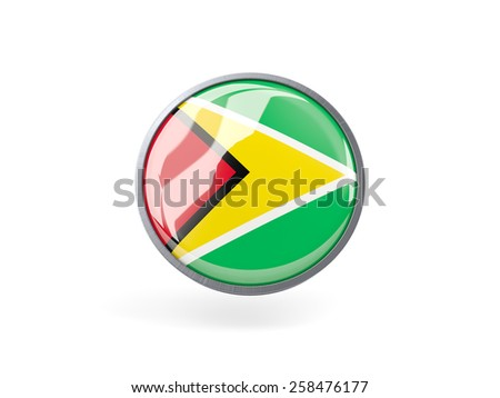 Metal framed round icon with flag of guyana - stock photo