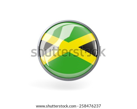 Metal framed round icon with flag of jamaica - stock photo