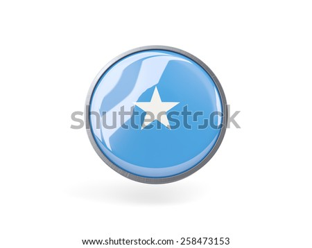 Metal framed round icon with flag of somalia - stock photo