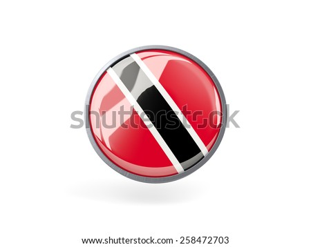 Metal framed round icon with flag of trinidad and tobago - stock photo