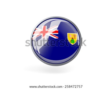 Metal framed round icon with flag of turks and caicos islands - stock photo