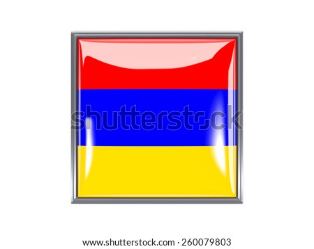 Metal framed square icon with flag of armenia - stock photo