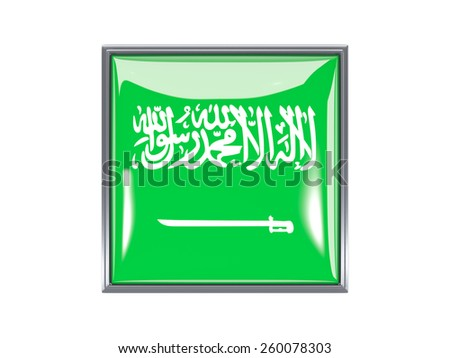 Metal framed square icon with flag of saudi arabia - stock photo