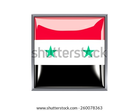 Metal framed square icon with flag of syria - stock photo