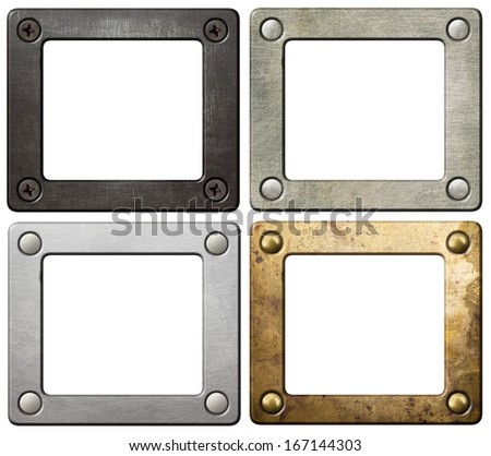 Metal frames with screws and rivets. - stock photo
