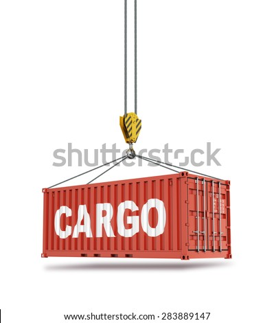 Metal freight shipping containers on the hooks at white background. - stock photo
