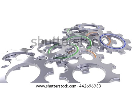 metal gear wheel set isolated white background - 3d illustration - stock photo